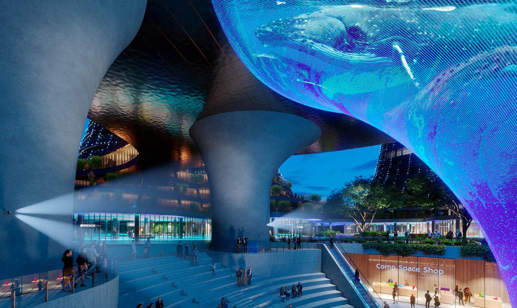 Bild på futuristiskt centrum i Hainan