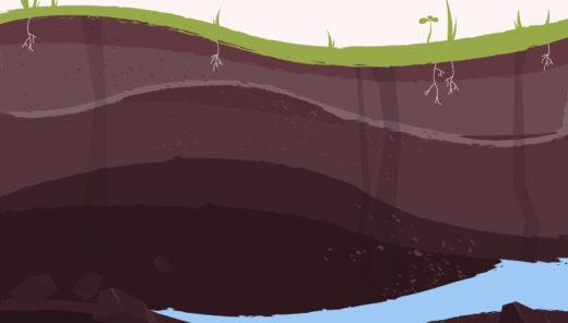 Illustration av vatten i berggrund