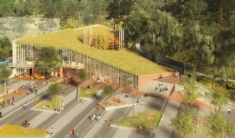 Bild på utomhusmiljön av kulturhuset Bergsjön
