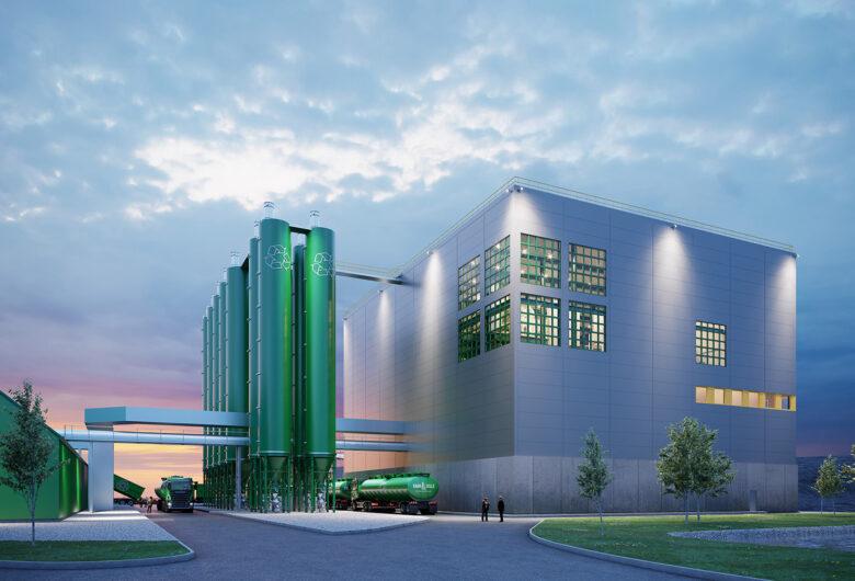 Visualisering av Ragn-Sells produktionsanläggning vid Högbytorp, Stockholm.