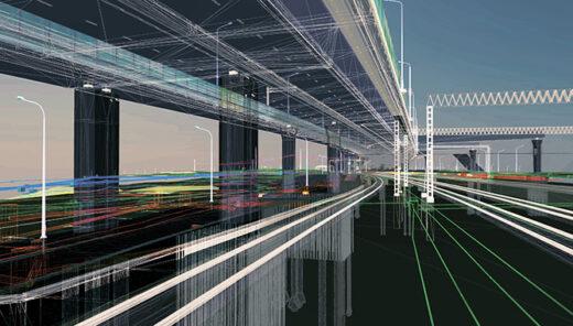 Visualisering av bro i stadsmiljö