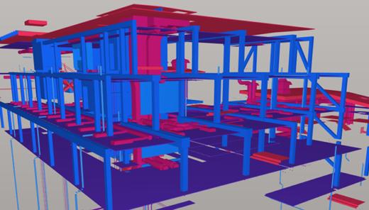 BIM-modell i rött och blått