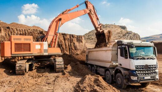 grävskopa-lastbil