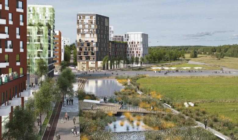 Visualisering husbyggnader i grönområde