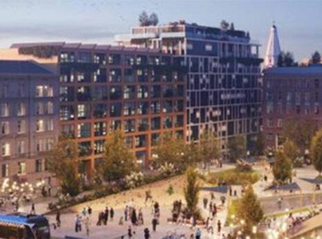 städskärna med flervåningshus