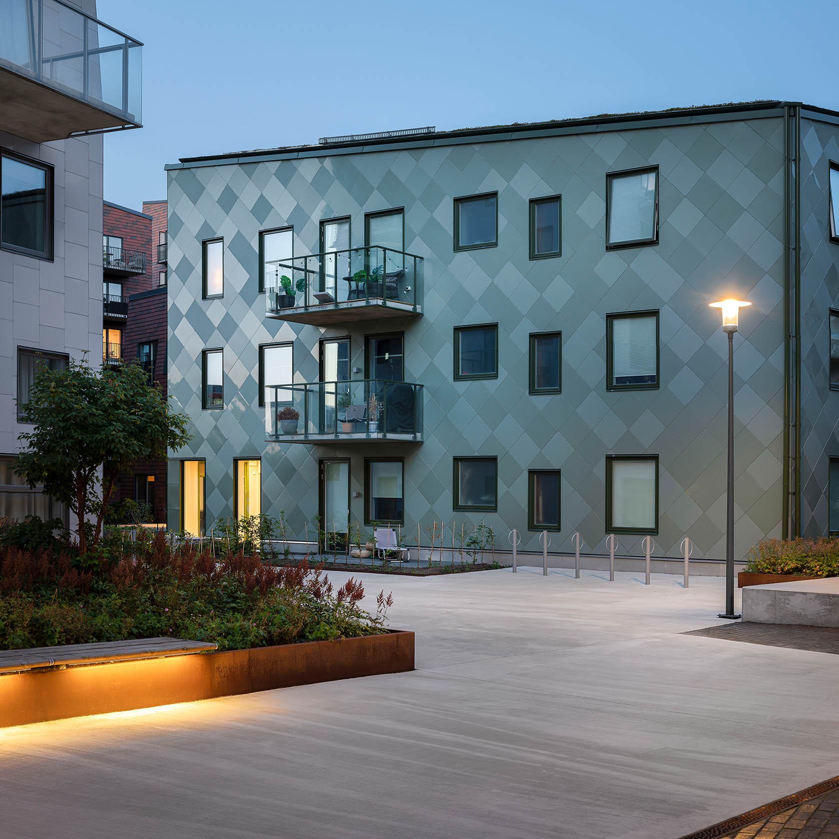 Grönt bostadshus Lindholmshamnen Göteborg